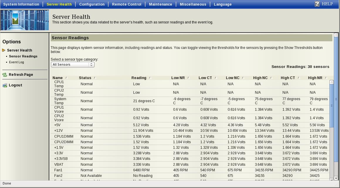 Датчики состояния через IPMI