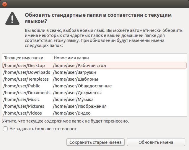 Смена имен специальных папок в Ubuntu 14.04.1