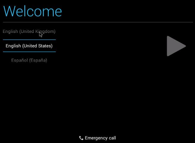Выбор языка при установке Android.