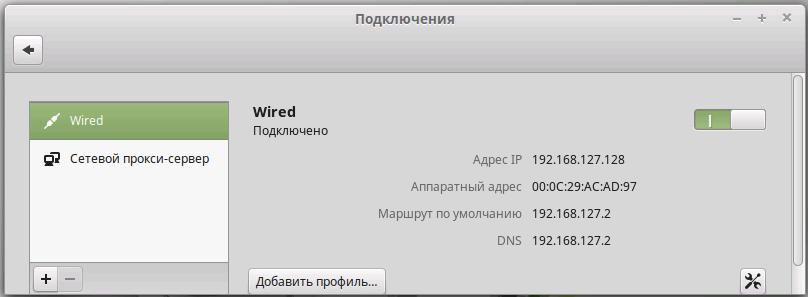 Настройка сетевых адаптеров в Linux Mint