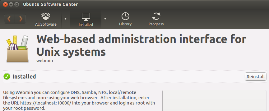 Установка Webmin через Центр приложений Ubuntu