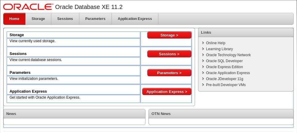 Основное меню приложения для администрирования Oracle XE.