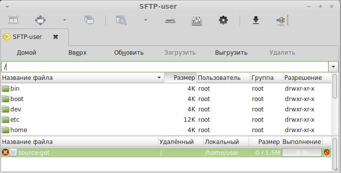 SFTP -  подключение в Remmina