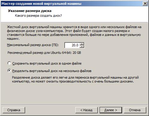 Параметры виртуального жесткого диска в VMware Workstation.